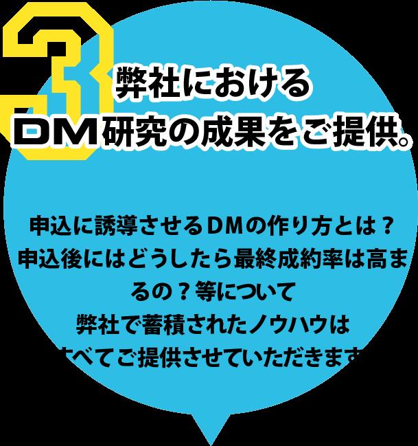弊社におけるDM研究の成果をご提供。申込に誘導させるDMの作り方とは?申込後にはどうしたら最終成約率は高まるの?等について弊社で蓄積されたノウハウはすべてご提供させていただきます。