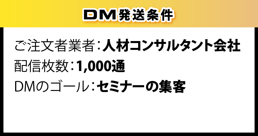 DM発送条件 ご注文者業者:人材コンサルタント会社 配信枚数:1,000通 DMのゴール:セミナーの集客